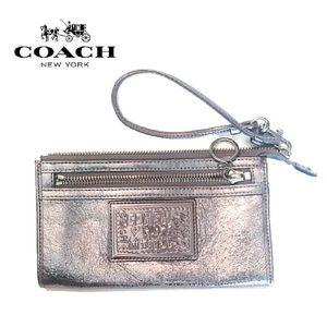 COACH Leather Poppy Silver Wristlet Wallet Clutch